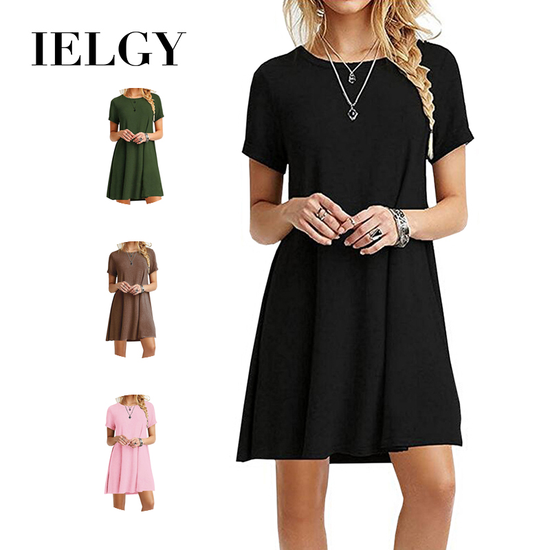 IELGY European And American Short-sleeved Large Size Solid Color Dress Explosion Models Women's New Hot Sale