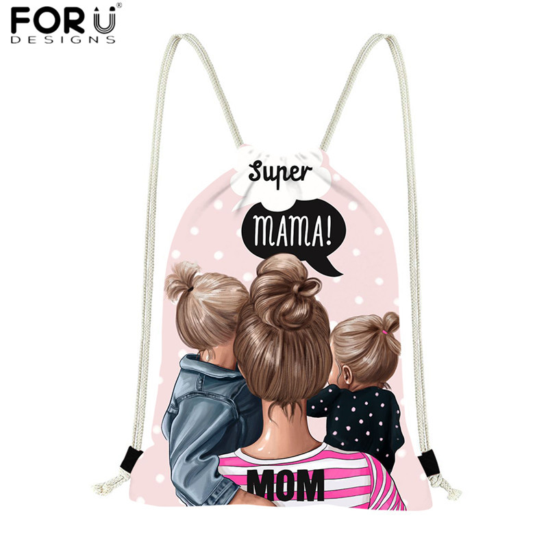 FORUDESIGNS Cute Drawstring Backpacks Baby Mama Super Mom Girl Polyester String Sack Bags For Women Daily Shopping Bag Daypack