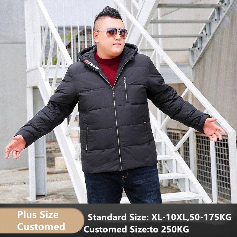 Hiver 80% duvet de canard veste hommes à capuche épais manteau hommes chaud grande taille 7XL 8XL 9XL 10XL noir rouge gris Hoodies vêtements personnalisés
