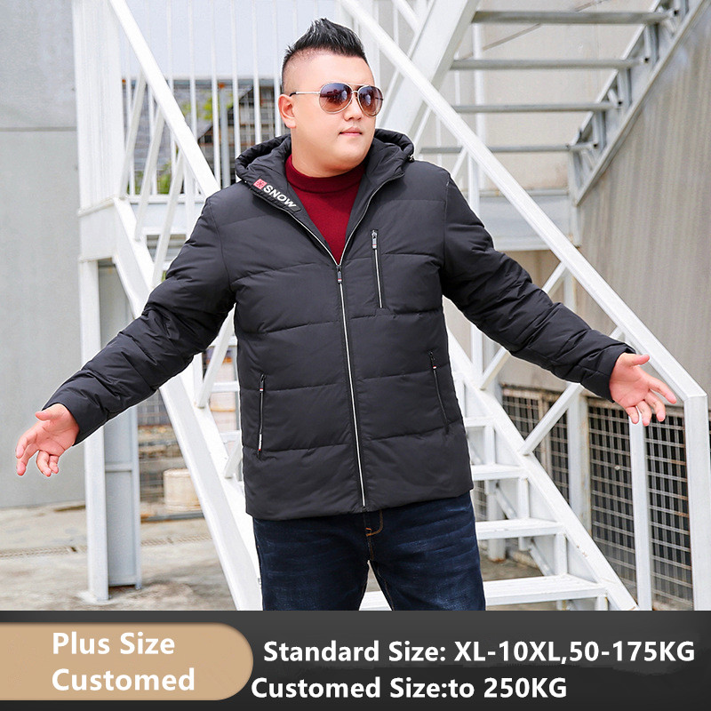 Winter 80% Duck Down Jacket Men Hooded Thick Coat Mens Warm Plus Size 7XL 8XL 9XL 10XL Black Red Grey Hoodies Customized Clothes