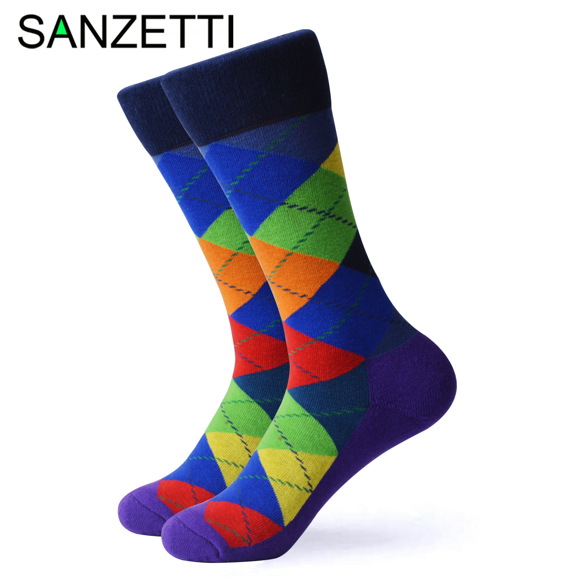 SANZETTI 1 Pair Happy Socks High Quality Men's Colorful Comfortable Combed Cotton Bright Novelty Cool Wedding Dress Terry Socks
