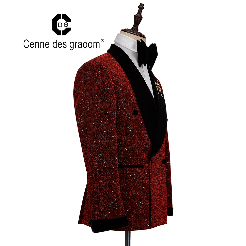 Tuxedo Party Breasted Costume Double Graoom Christmas Lapel Men Des Singer New Cenne Shawl Groom Wedding 2020 Suit Pieces Two