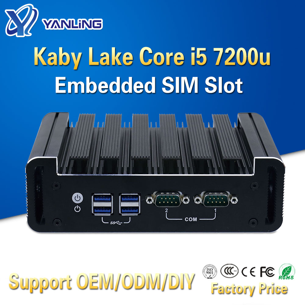 Yanling Intel NUC Mini PC Kabylake I5 7200u Processor Dual Core Thin Client Fanless Pocket TV BOX Desktop Computer For Window 10