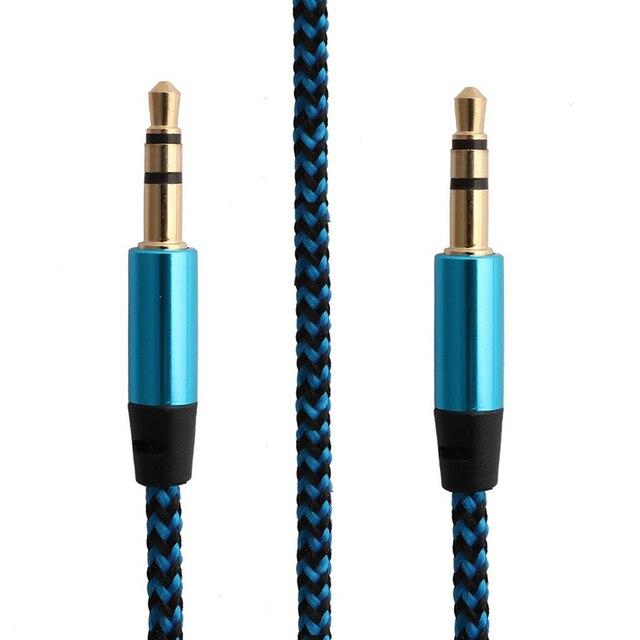 3.5mm jack cabo multicolorido náilon aux linha de cabo de áudio para o carro fone de ouvido mp3 pc para xiaomi para andriod aux música cabo txtb1