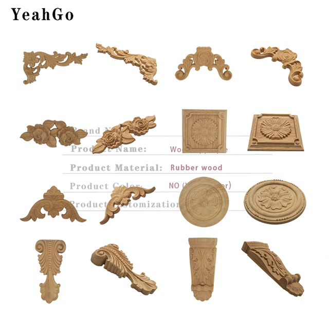 YeahGo European-style solid wood flower wood carving Round applique Furniture Home Wall decorative decal accessories Part-one 2