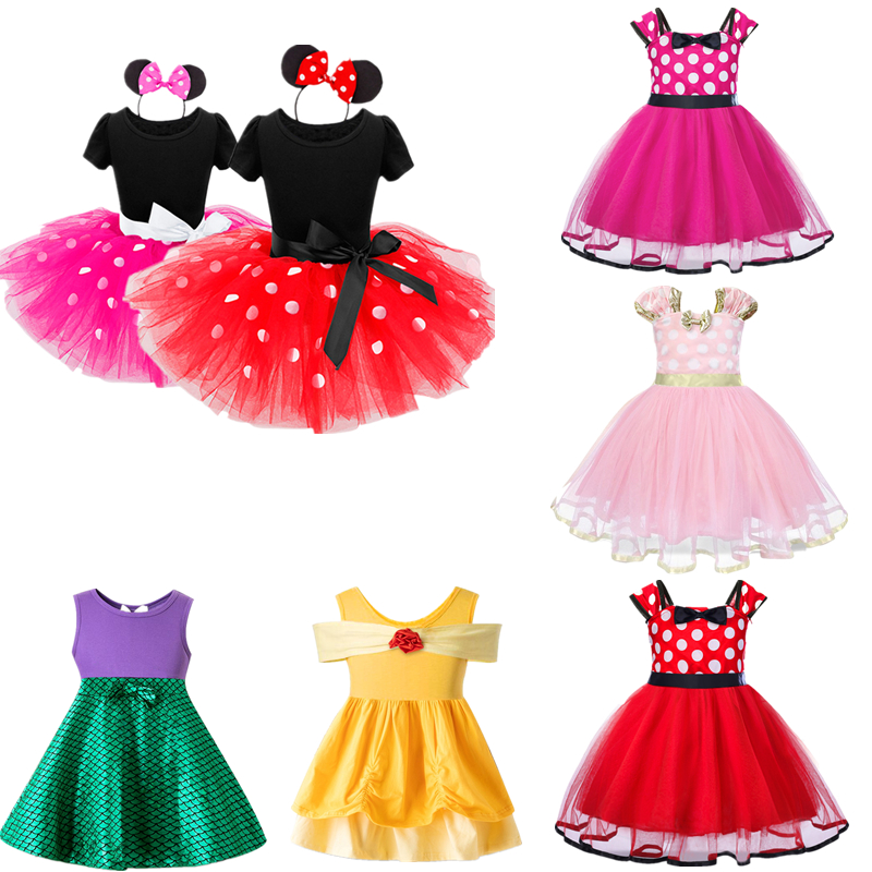 Minnie Mouse Dress For Girls Summer Polka Dots Baby Girl Clothes Birthday Party Dress Up Child Clothing Baby Girl Dress Vestidos