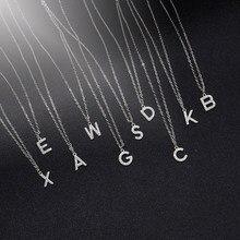 Collar con letra pequeña de circón AAA para mujer y niña, collar de lujo con Nombre del alfabeto a-z, joyería coreana 2020