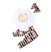 3 PCS Newborn Baby Girl Clothes Long Sleeve Tops+Floral Pants+Headband Outfit Set 2019 New Fashion Letter Striped Print Sets