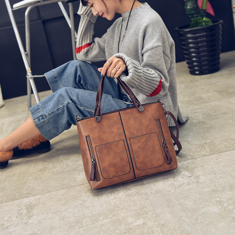 Vintage Shoulder Bag Female Causal Totes for Daily Shopping Women PU lether Lady Tote Bags