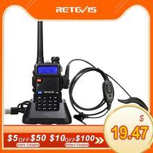 RETEVIS RT5R Handy ווקי טוקי 5W VHF UHF USB חם חובב שני רדיו דרך Airsoft משחק ציד ווקי טוקי לbaofeng UV 5R