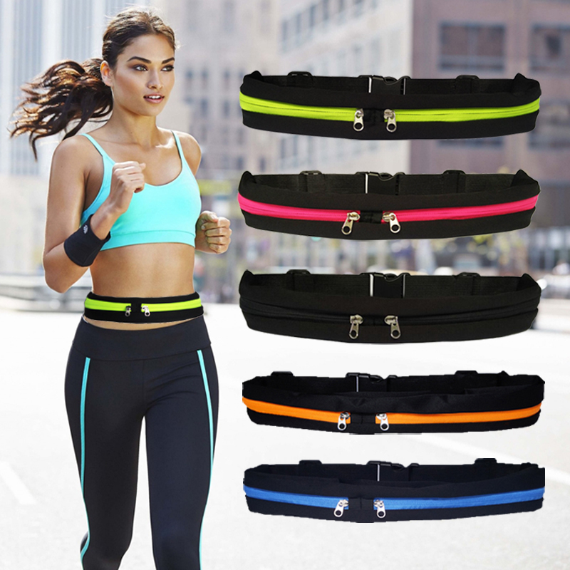 KYIDER 2020 Waist Pack Men Women Fashion Double Pocket Waterproof Phone Belt Nylon Casual Small Bag For Traveling Running Sport