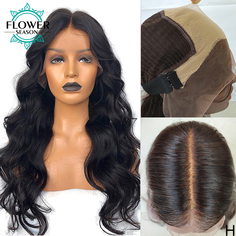 Fake Scalp Wig Wavy 13x6 Lace Front Human Hair Wigs Preplucked Brazilian Remy 150density Bleached Knots For Women FlowerSeason