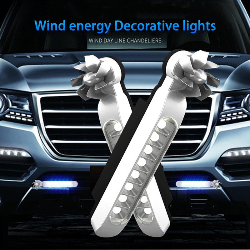 Vehicle-Lights Wind-Powered Warning Car-Accessories with Fan-Rotation Fog Daytime 8xleds