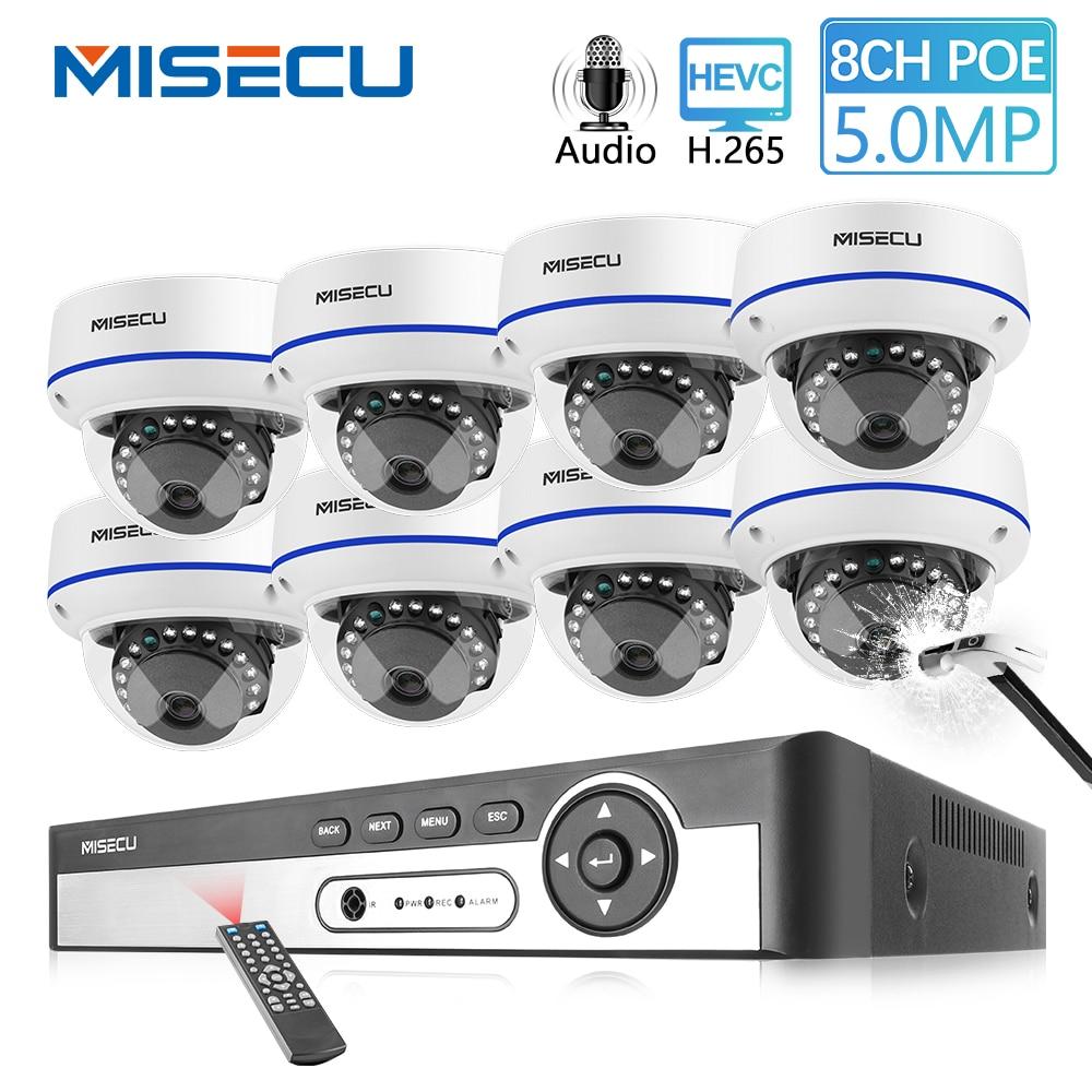 MISECU H.265 8CH 4MP 5.0MP IP POE POE Áudio Câmera De CCTV Sistema Kit Câmera de Vigilância De Segurança De Vídeo À Prova D' Água À Prova de Vandalismo
