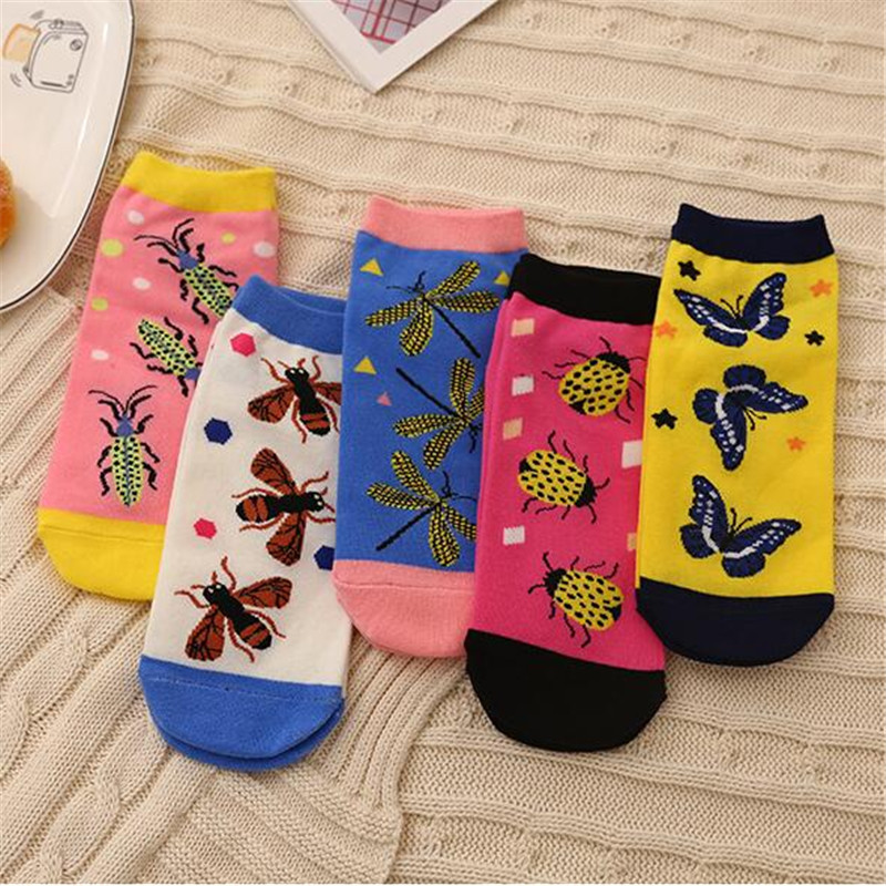 New Art Insect Forest Series Kawaii Short Socks For Girl Colorful Combed Cotton Funny Socks Butterfly Breathable Sweat Boat Sock