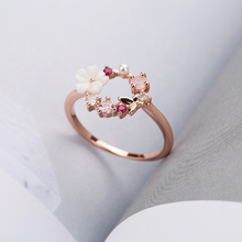 цена на Hot Selling Creative Hot Selling Butterfly Flowers Really Rose Gold Ring Women's Hot Selling Accessories Jewelry