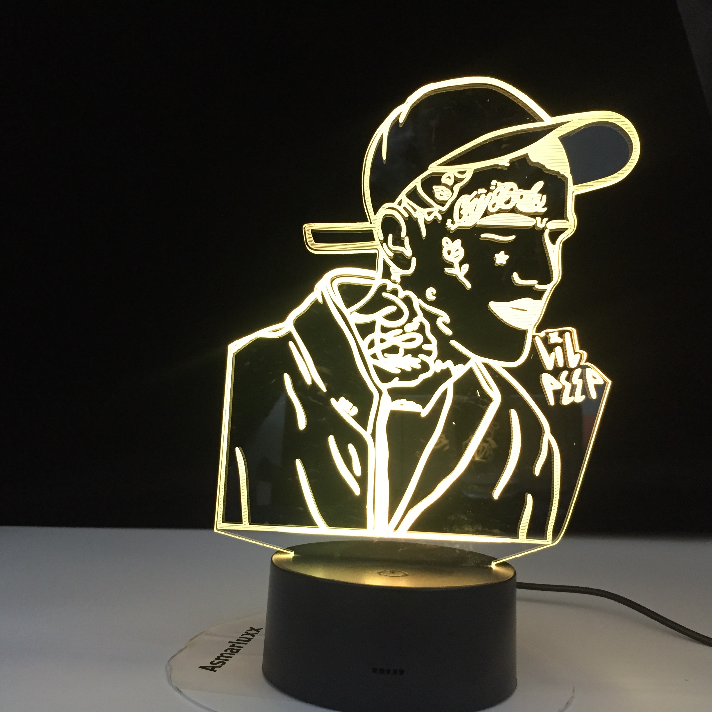 Lil Peep American Popular Rapper 3D Led Night Light For Home Decoration Colorful Celebrity Nightlight Gift For Fans Dropshipping