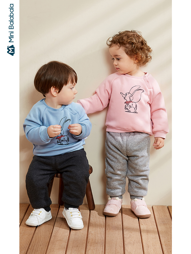 Minibalabala Baby clothes set boys and girls baby flying elephant plus velvet children's clothing 2019 winter new sports tracksu