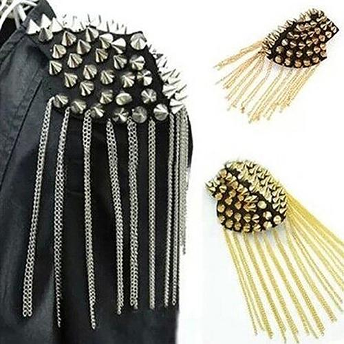 1Pc Punk Gothic Rivet Spike Epaulet Shoulder Board Mark Tassel Brooch Jewelry