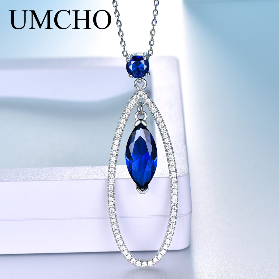 UMCHO Real Silver 925 Jewelry Pendants Necklaces Water Drop Blue Sapphire Gemstone Pendant Fine Jewelry For Women With Chain NewPendants   -