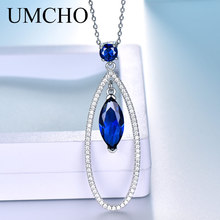 UMCHO Real Silver 925 Jewelry Pendants Necklaces Water Drop Blue Sapphire Gemstone Pendant Fine Jewelry For Women With Chain New