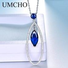 UMCHO réel argent 925 bijoux pendentifs colliers goutte deau bleu saphir pierre gemme pendentif bijoux fins pour les femmes avec chaîne nouveau