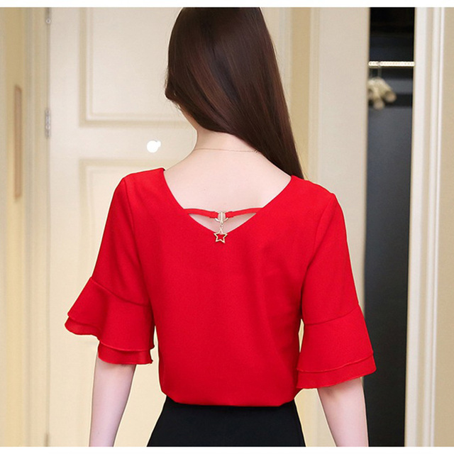 Womens Tops And Blouses Summer Flare Sleeve Chiffon Blouse Shirt Women Tops Ladies Work Wear Office Blusa Feminina Shirts 5