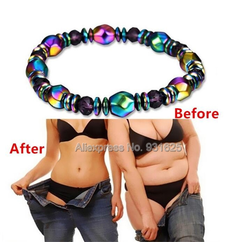 Healthy Care Weight Loss Energy Healing Elastic Magnet Bracelet Colorful Charm Jewelry Magnetic Hematite Beads Strand Bracelet