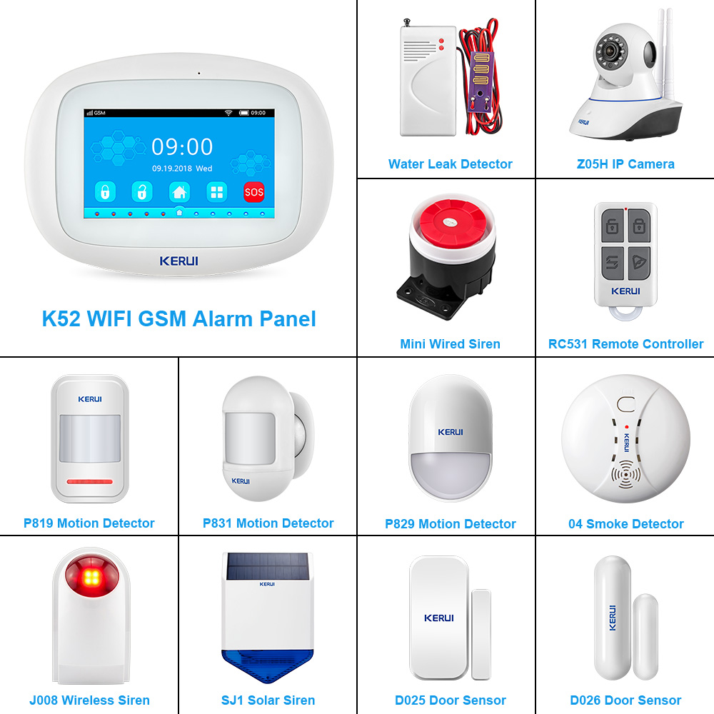 KERUI DIY Kit K52 WIFI GSM Alarm System IOS/Android APP Control 4.3 Inch TFT Color Wireless Home Security Burglar Alarm System