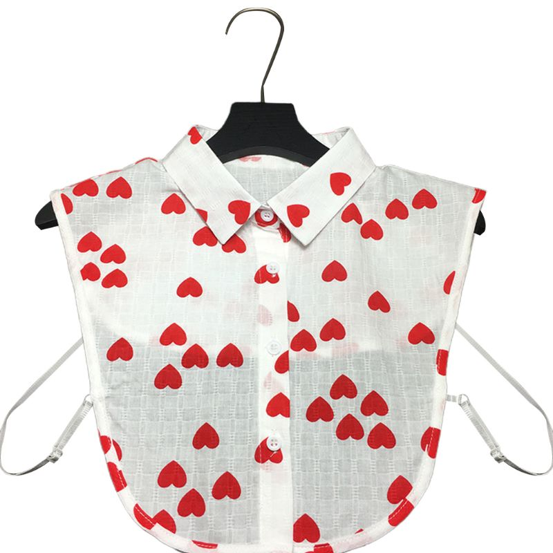 Women Sweet Red Heart Printed Lapel Fake Collar Detachable Half Shirt Crop Top Tie High Quality And Brand New