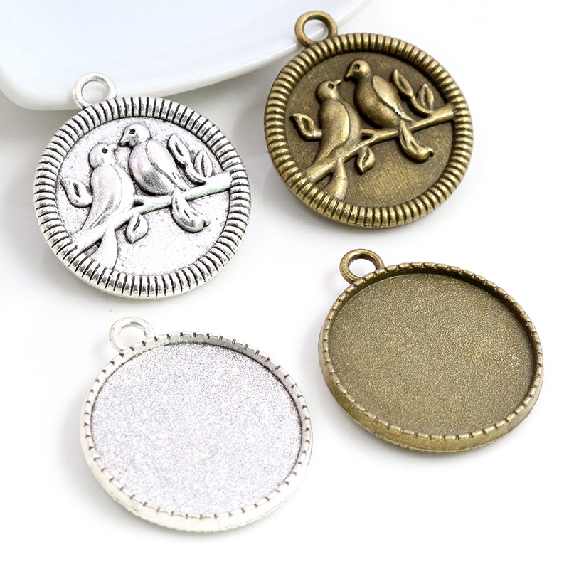 New Fashion 5pcs 25mm Inner Size Antique Silver Plated Bronze Two Birds Cabochon Base Setting Charms Pendant
