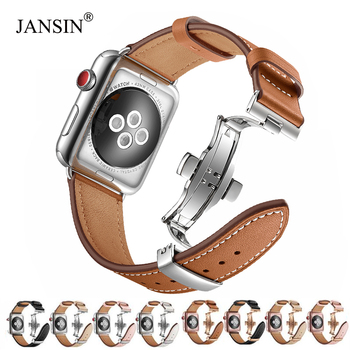 Italy Genuine Leather loop band for Apple Watch 38mm 40mm 42mm 44mm iWatch Series 5 4 3 2 1 Bracelet Butterfly Clasp Strap Belt tjp series 2 1 genuine brown vintage italy calf leather watchbands strap for apple watch iwatch 38mm 42mm wristband with adapter
