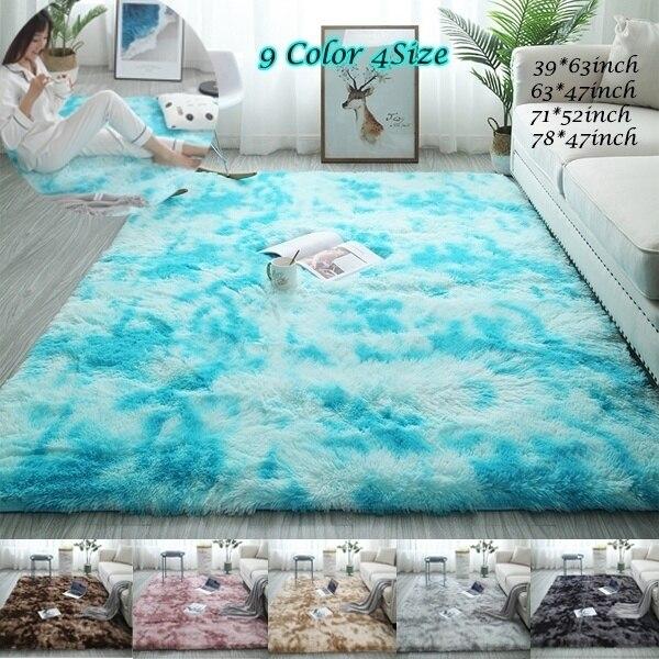 Grande taille Super doux cravate-teinture Art tapis sol chambre tapis dégradé couleur moelleux tapis salon tapis couloir tapis