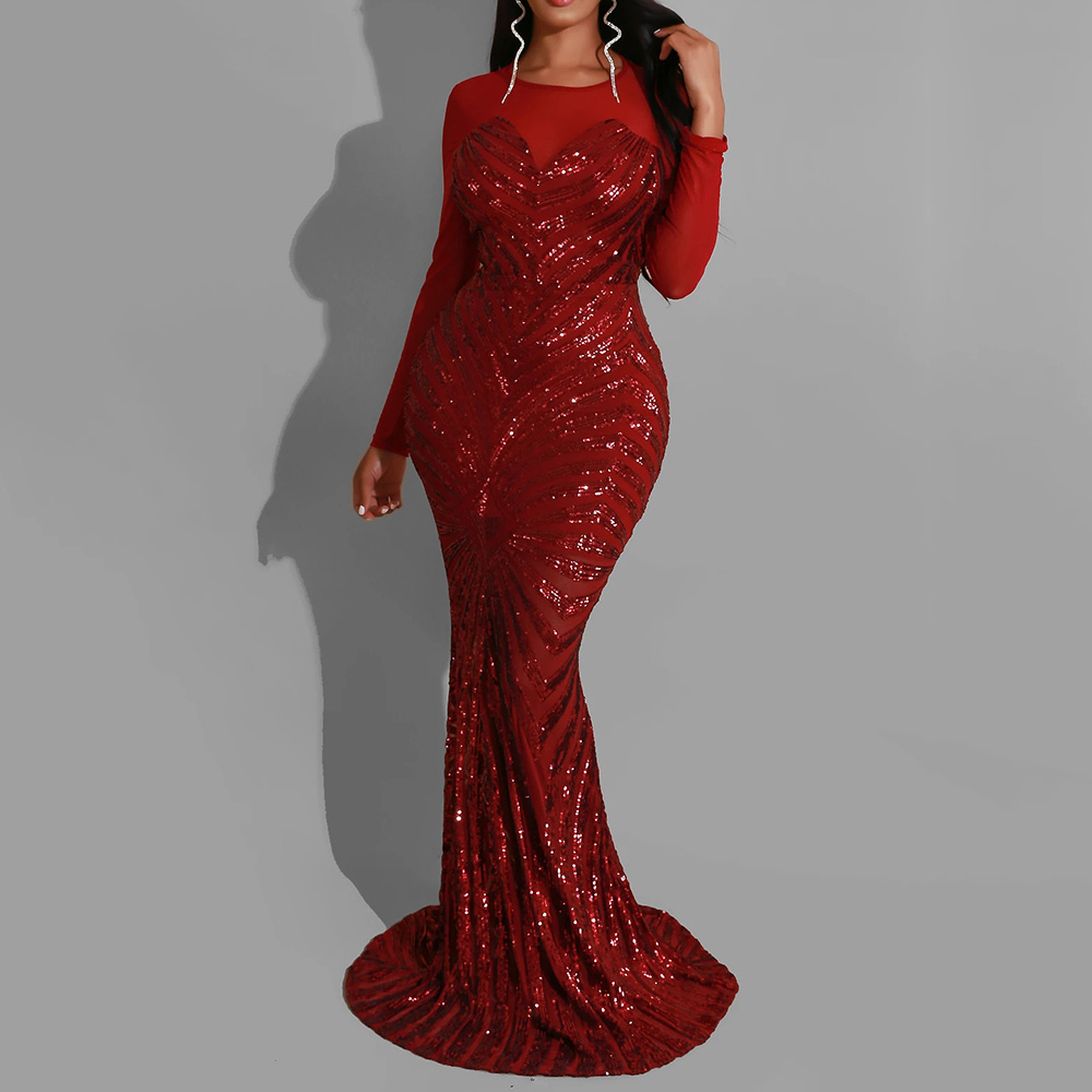 Red Sequined Evening Mermaid Long Dress Women Elegant Sexy Long Sleeves African Scoop Neck Wedding Party Formal Evening Dress