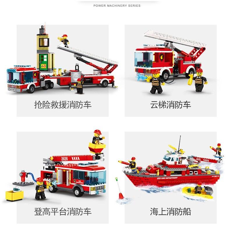 244 шт. пожарные спасательные машины, строительные блоки, городской полицейский пожарный кирпич, детские игрушки для мальчиков, рождественск...