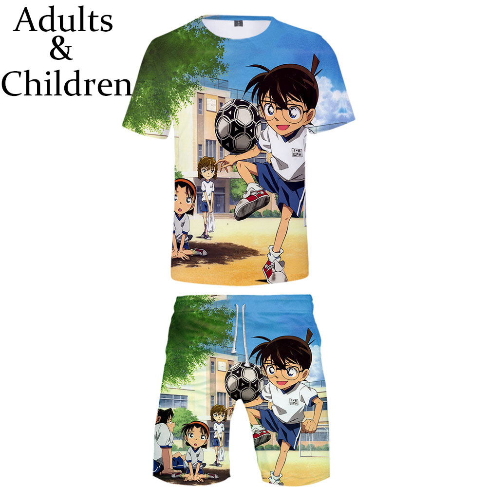 New 3D Detective Conan T-shirt + Beach Shorts Male / Female Hip Hop Summer Casual 3D  Print Boy / Girl Two-piece Fashion Cool