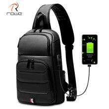 Rowe bandolera impermeable antirrobo para hombre, bolso de hombro masculino, resistente al agua, con carga USB, para negocios, viaje corto, pecho