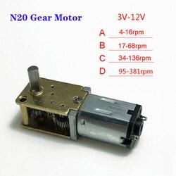 Мини микро-червячный редуктор N20 постоянного тока 3 В/6 в/12 В, цельнометаллическая коробка передач, 4-380 об/мин, медленная скорость, большой кру...