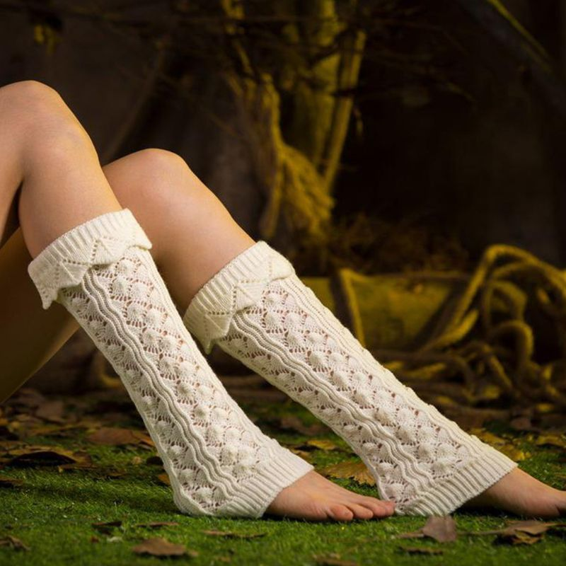 Women Girls Hollow Out Imitation Lace Knitted Boot Cuffs Cover Wavy Trim Solid Color Knee High Long Leg Warmers Elastic Socks