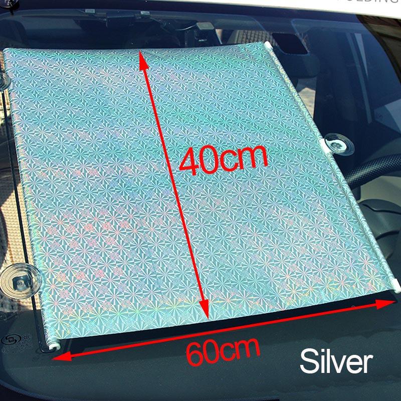 Солнцезащитная шторка на лобовое на лобовое стекло от солнца Автомобильная раздвижная занавеска с УФ-Зонт с рисунком с обратной стороны Грузовик лобовое стекло на лобовое стекло - Цвет: Silver 40cmx60m