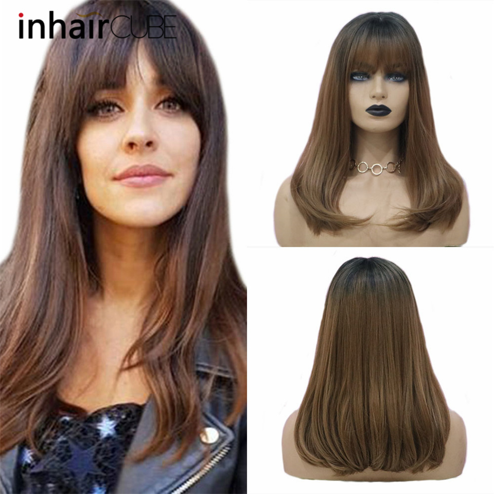 "INHAIR CUBE 20"" Long Straight Hair Synthetic Wigs Dark Roots Ombre with bangs Realistic Simulation Scalp Side Part"