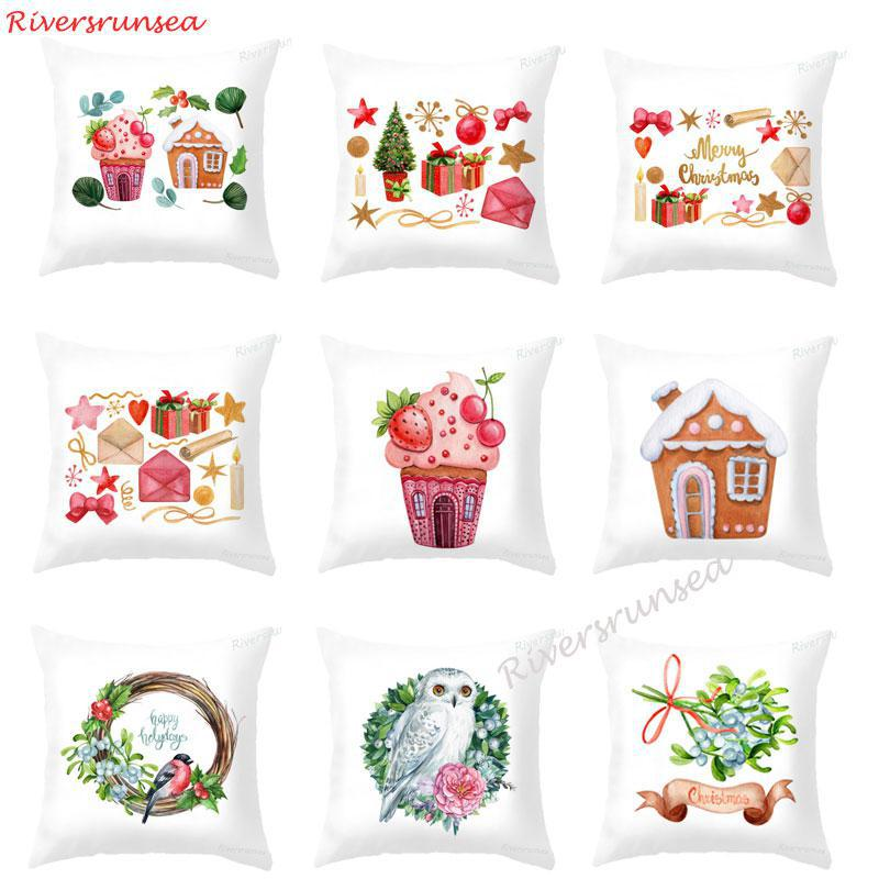 Pink Ice Cream Sweet Cushion Dessert Strawberry Cherry Christmas Tree Leaf Pillow Red Santa Claus Car For Xmas Party Kids Gift