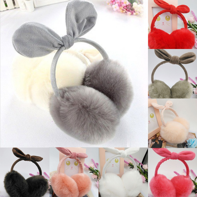 Sweet Bow Candy Color Korean Style Keep Warm Students Trendy Daily Girls Winter Supplies All-match Plush Womens Earmuff
