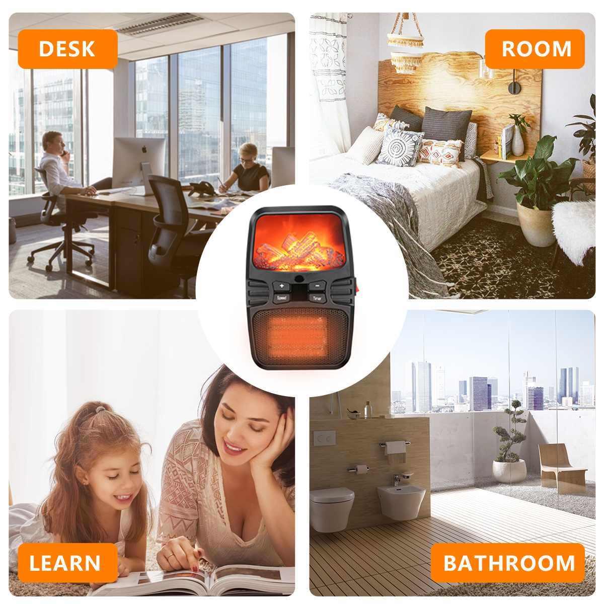 1000W الكهربائية سخان مروحة صغيرة سطح المكتب المنزلية الموقد لهب الموقت ترموستات التحكم عن بعد مكواة شعر بمعامل درجة الحرارة الإيجابي مروحة آلة تدفئة