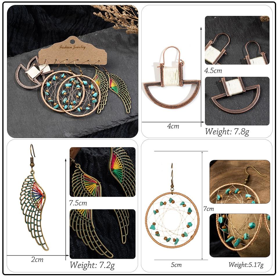 Bohemia Sea Shells Drop Earrings for Women Sets Vintage Ethnic Big Round Stones Wooden Tassel Fringe Earring Women's Set Jewelry (3)
