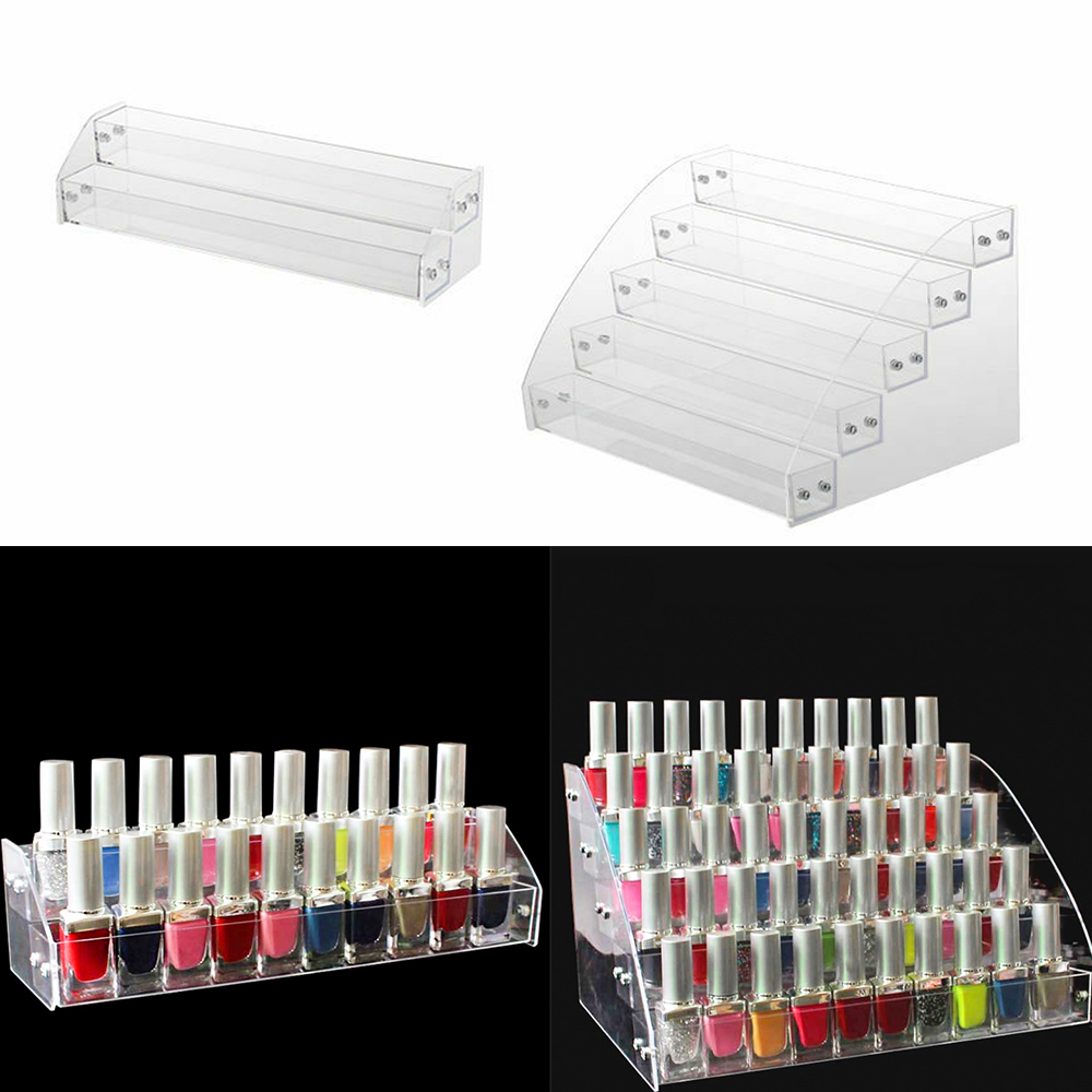 2/5 Layer Nail Polish Organizer Cosmetic Storage Organizer Holder Professional Lipstick Display Stand Nail Polish Showing Shelf