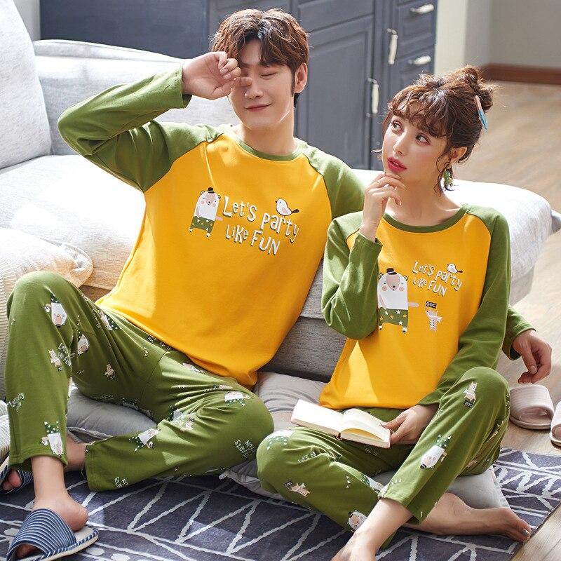 Pajamas Women's Spring And Autumn 6535 Cotton Long Sleeve Trousers Japanese Korean Korean-style Men And Women Couples Thin Home