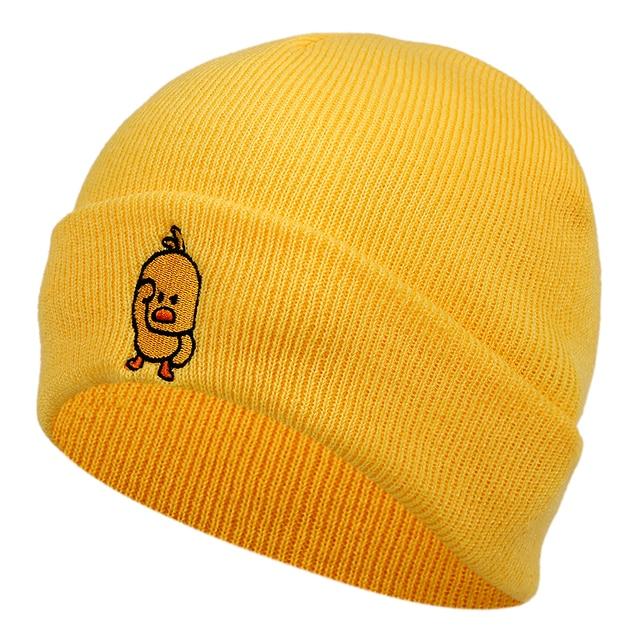 Casual Little yellow duck beanie Hat for Men women Hip Hop Knitted woolen hats cap Outdoor Winter warm ski hats Skullies Hats
