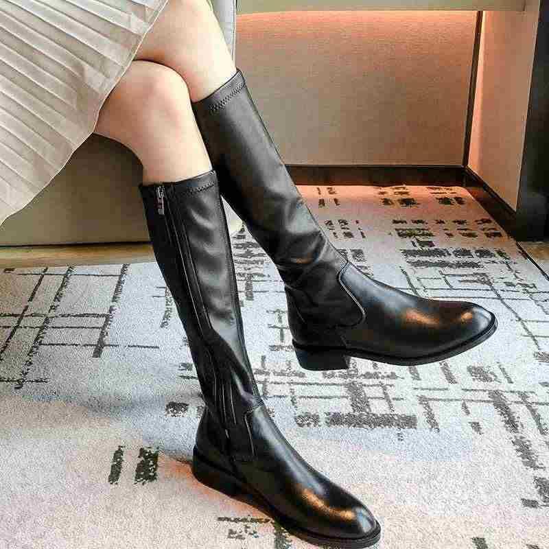 Krazing Nồi Da Bò Thời Trang Ngắn Gọn Phong Cách Căng Giày Mũi Tròn Med Gót Đen Màu Sắc Mùa Đông Dây Kéo Đùi Cao Cấp Giày l40