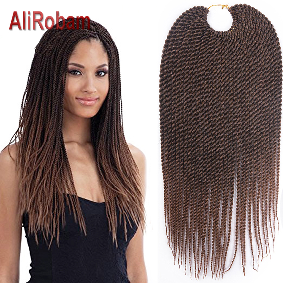 AliRobam Crochet Braids Ombre Brown Grey Braided Hair Low Temperature Synthetic Braiding Hair Extensions Small Senegalese Twist